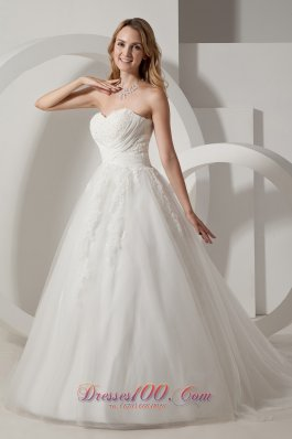Sweetheart Appliques Bridal Dress Taffeta and Organza Court Train