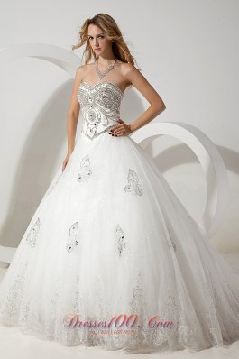 Sweetheart Organza Wedding Dress Ball Gown Court Train Beading