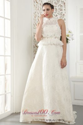 High-neck Beading and Ruch Wedding Dress Brush Train Lace