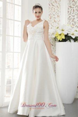 V-neck Bridal Gown Princess Floor-length Beading Satin
