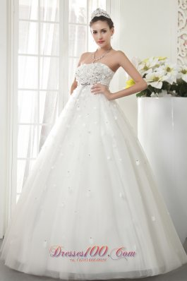 Floor-length Bridal Wedding Dress Princess Strapless Beading Tulle