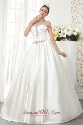 A-line/Princess Satin white Wedding Dress with beading