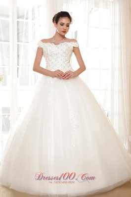 Off The Shoulder Ball Gown Tulle Appliques Wedding Dress