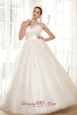 Sweetheart Wedding Gown Appliques With Beading Tulle