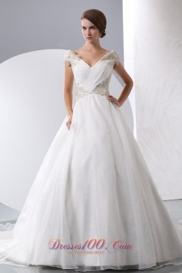 A-line Wedding Gown V-neck Beaded Chapel Train