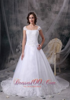 Customize Square Lace Court Train Wedding Dress Cap Sleeves