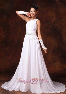 One Shoulder Chiffon Wedding Dress Empire Court Train