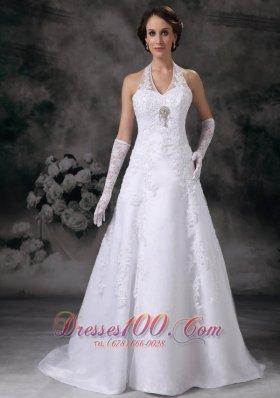 Applique A-line Halter Court Train Lace Beading Wedding Dress