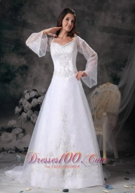 A-line Square Wedding Dress Long Sleeves Appliques Court Train