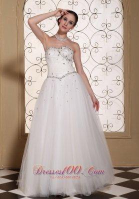 Lovely A-line strapless Wedding Dress Beaded Bodice Tulle