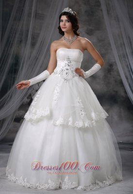 Ball Gown Wedding Dress With Lace Tulle Layers