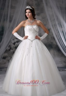 2013 Beaded Ball Gown floor length Tulle Wedding Dress