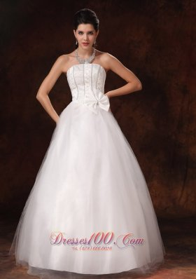 Stylish A-line Floor-length Customize Bowknot Wedding Dress