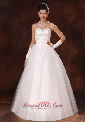 Sweetheart Beaded Tulle Garden Wedding Dress Custom Made