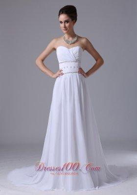 Beaded Waist Empire Sweetheart Court Train Wedding Dress