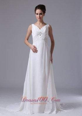 Empire Beaded Waist Chiffon Court Train Wedding Dress