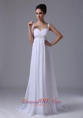 2013 Beaded Waist Empire Straps Chiffon Wedding Dress
