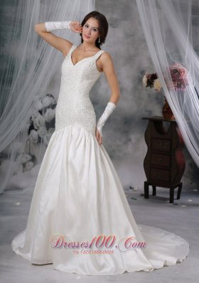 Straps Court Train Taffeta Beaded Wedding Dress