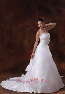 Sweetheart Hand Made Flowers Wedding Dress Chapel Train