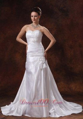 Ruched Bodice and Appliques Wedding Dress Hand Made Flowers