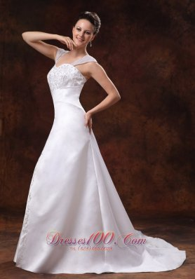 Straps Court Train Satin Church Wedding Dress With Embroidery