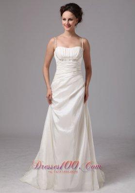 Spaghetti Straps Wedding Dress Beading Brush Train