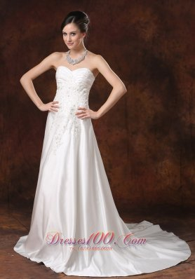 Princess Garden Wedding Dress Sweetheart Taffeta Court