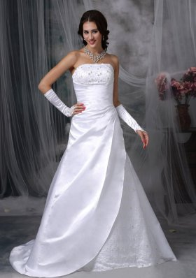 Perfect Satin Embroidery A-line Indoor Bridal Gowns 2012