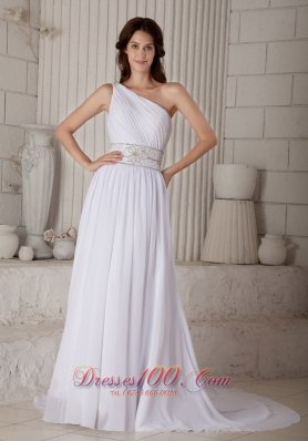Gilding Beach Wedding Dress Sheath One Shoulder Ruch Court