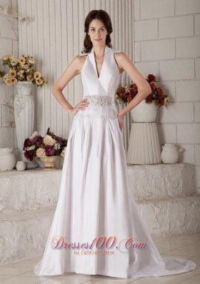 Vintage High-neck Wedding Bridal Gown Beaded Belt Taffeta