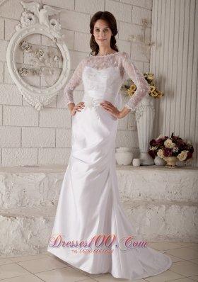 Dramatic Mermaid Bateau Lace Bridal Dresses Satin on Sale