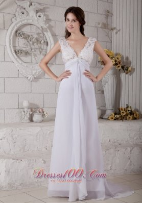 Customize Empire V-neck Lace Chiffon Beach Wedding Dresses
