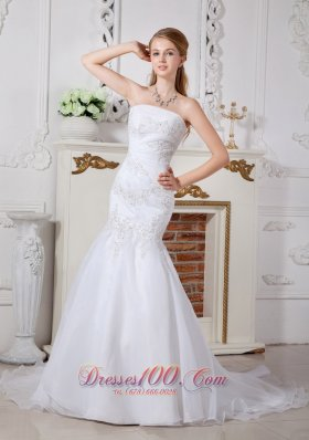 Mermaid Appliques Outdoor Bridal Dress Brush Train