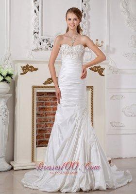 Customize Princess Bridal Dress Sweetheart Appliques Taffeta