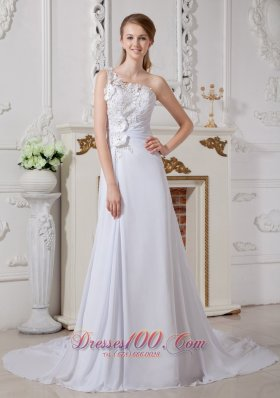Wonderful Floral Wedding Bridal Dress One Shoulder Appliques