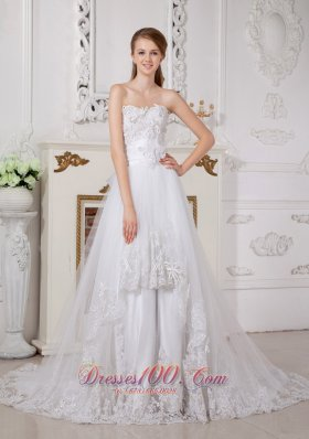 Lace Church Wedding Dress Princess Sweetheart Court