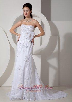 Elegant Mermaid Bridal Dress Sash Lace Flowers Court
