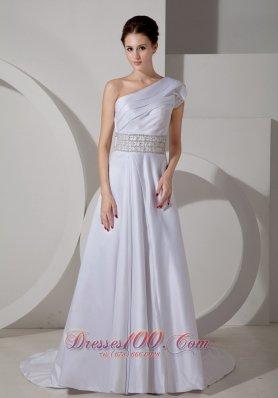 One Shoulder Crystal Belt Bridal Dress A-line Satin