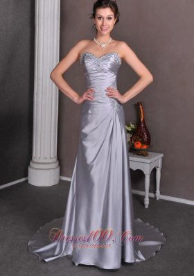 Silver Column Sweetheart Themed Wedding Dress Court Train