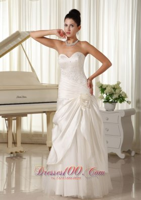 Beaded Tulle Bridal Dress Pleated Hand Made Flowers