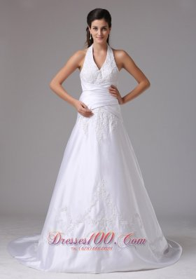 Custom Made Halter Bridal Dress Embroidery Wrapped Waist