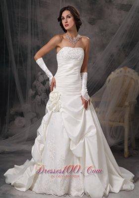 Princess Bridal Dress Strapless Flowers Court Satin