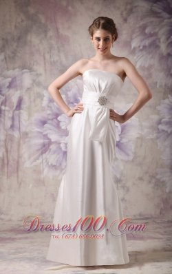 Column Empire White Wedding Dress Beaded Floor-length