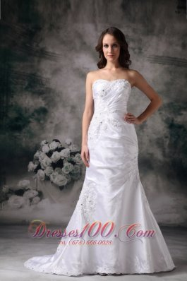 Beautiful Column Appliques Church Wedding Bridal Dress