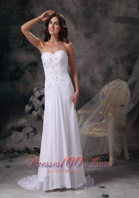 Romantic Sweetheart Beach Wedding Dress Chiffon Crystal