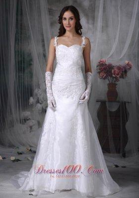 A-line Spaghetti Straps Lace Bridal Dress Appliques
