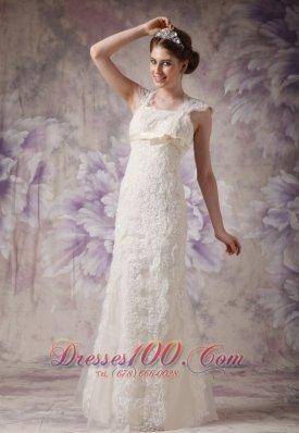 Exquisite Lace Wedding Dress Straps Bow Floor-length