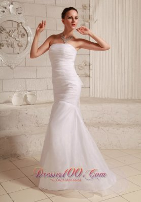 Simply Mermaid Wedding Dress Organza and Taffeta Low Cost