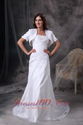Custom Made Column Appliques White Dress for Silver Wedding