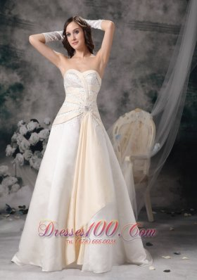 White and Champagne Church Wedding Dress Sweetheart Crystal